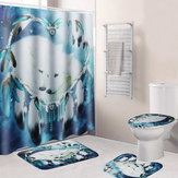 B68916 White Wolf Dream Catcher Badkamer Douchegordijn Deksel Wc Mat Cover Bad Vloermat