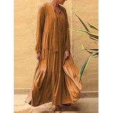 Solid Color V-neck Patchwork Loose Casual Maxi Dress