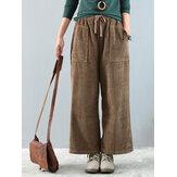Vintage kadife Muti-cepler elastik bel geniş bacak Pantolon