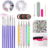 48PCS UV Gel Nail Art Design Set Dotting Painting Drawing Polish Brush Pen Tools