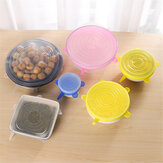 6Pcs Stretch Silicone Kitchen Food Bowl Container Cover Storage Wraps Seals Reusable Lids
