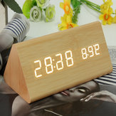 Triangular Wood Digital LED Alarm Table Desk Clock Display Temperature Time