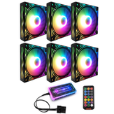 Coolmoon BILLOW 6 PCS 12 cm Multilayer Backlit RGB CPU Ventilador de refrigeração Computador PC Caso com o RF Wireless Controle Remoto