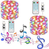 USB Vanntett Musikk Lydaktivert 10M LED String Light Wedding Christmas Decor med 17 Taster Fjernkontroll Julepynt Clearance Christmas Lights
