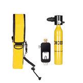 Equipo de juego de buceo Mini cilindro de oxígeno de buceo 0.5L Accesorio de buceo bajo el agua herramienta Tanque de oxígeno de aire con adaptador y almacenamiento Bolsa