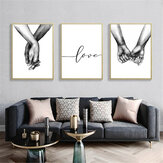 Holding Hand Imagen en blanco y negro Cambric Prints Painting Love Wall Sticker Home Decor