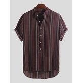 Camicie da uomo Henley Stripe Pulsanti Fly traspirante manica corta casual vacanza Henley