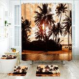 180 * 180 cm Tropical Design Banheiro Cortina de Chuveiro 3 pcs Tapetes Banheiro Conjunto de Tapete de Banho