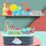 Kids Girls Kitchen Sink Pretend Play Toys Set Real Working Faucet & Washing Tools