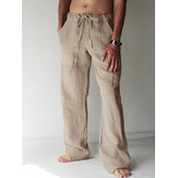 Men's Breathable Cotton Linen Baggy Harem Yoga Pants Drawstring Long Slacks Trousers