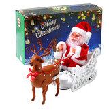 Езда на олене Санта-Клаус Кукла Музыка для ходьбы Кукла Санта-Клаус Музыка Олень Корзина Подарок