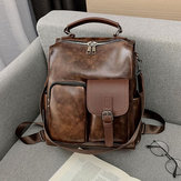 Mulheres Vintage Faux Leather Multifuncional Backpack Crossbody Bolsa