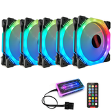 Coolmoon 5PCS 120mm 12 Monochromatic Lights CPU Cooling Fan Multilayer Backlit RGB Cooling Fan with the Remote Control