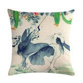 Chiński akwarela królik druk Pościel bawełniana narzuta na poduszkę Poszewka na poduszkę Home Sofa Office Seat Poszewka na poduszkę