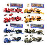 1:64 Mini Alloy Engineering Vehicle Sliding Trailer Child Car Diecast Model Toy