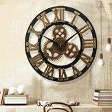 19インチアンティークローマ数字サイレント壁時計素朴なホイールギア木製装飾時計