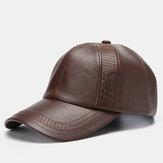 Erkek Suni Deri Vintage Beyzbol Şapkası Dokuma