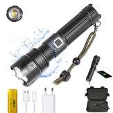 XANES® P70 1800 lumen USB LED zoombare tactische zaklamp 5 modi IPX4 waterdichte schijnwerper Zoeklicht met oplader 26650 Batterijopbergdoos