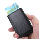 RFID X-37 Portable Anti-degassing Business Card Holder Wallet Leather Name Card Case ID Credit Card Storage Box