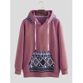 Herenmode Hooded patroon afdrukken Pullover met lange mouwen