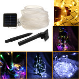 39FT 100 LED Solar String Rope Fairy Light Wodoodporny Xmas Wedding Party Decor Night Light
