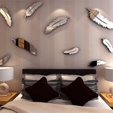 Gümüş Tüy DIY 3D Ayna Duvar Sticker Duvar Ev Ve Yatak Odası Dekorasyon Için