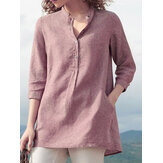 Frauen 3/4 Ärmel V-Ausschnitt Button Down Tops Casual Loose Shirts Bluse