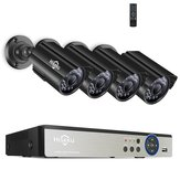 Hiseeu 8CH 5MP AHD DVR 4PCS CCTV Kamera Güvenlik Sistemi Kit Outdoor Su Geçirmez Video Gözetimi 3.6mm Lens