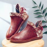 LOSTISY Women Folkways Stitching Slip Resistant Comfy Ankle Boots