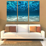 Miico Hand Painted Three Combination Decorative Paintings Light Blue Seawater Wall Art For Home Decoration