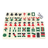 Chinese Mahjong Portable Retro Box Bordspel Speelgoed Zeldzame 144 tegels Mah-Jong Set in lederen doos