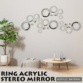 24Pcs 3D Mirror Ring Circles Wall Stickers Acrylic Mural