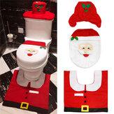 3 adet Noel Noel Dekorasyon Santa Klozet Kapağı + Halı Banyo Mat Set Kat Mat