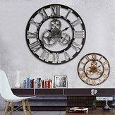 60cm Orologio da parete industriale retrò retrò 3D di grandi dimensioni in legno rustico Art Vintage di lusso