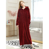 Women's Zip Front Flannel With Hood Long Bathrobe