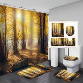 Tree Forest Printing Waterproof Bathroom Shower Curtain Toilet Cover Mats Floor Rugs with 12 Hooks