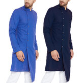 Mens Long Sleeve Grandad Neck Kurta Shirt Button Front Ethnic T Shirts Kaftan Tops