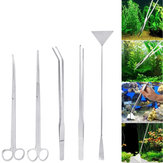 3PCS/5PCS Stainless Steel Long Tweezer Scissors Spatula Tools Set For Aquarium Tank