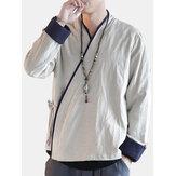 Camicie a maniche lunghe stile etnico retrò da uomo in stile cinese