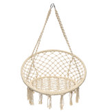 Mesh Hanging Hammock Woven Rope Wooden Bar White Swing Patio Chair Seat Iron Ring+Cotton Rope Mesh Hanging Basket