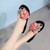 Women Flower Decoration Opened Toe Summer Beach Slippers