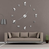 47 Inch 3D Large Wall Clock DIY Large Modern Frameless Home Decor Cat Big Clock Mirror For Bedroom Living Room Kittens Kitty Wall