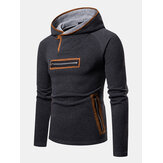 Mens Fashion Chest Pocket Decoration Hooded Thick Sweatshirt