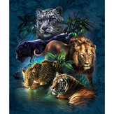 Pinturas de diamante DIY 5D Tiger Lion Embroidery Cross Crafts Stitch Kit de ferramentas