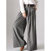 Women Solid Button Wide Leg Causal Pants