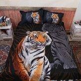 Bettdecke Doona Bettbezug-Set Bettwäsche-Sets Schwarz Polyester Tiger