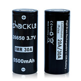 2PCS Shockli IMR 26650 3.7V 5500mah 30A Descarga Batería plana recargable de ion de litio