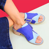 Women Plus Size Color Stitching Casual Summer Sandals