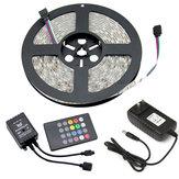 5M DC12V RGB Música ao ar livre em ambientes fechados à prova de água LED Strip Light + 20 Keys Controle Remoto + Adaptador de alimentação
