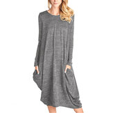 Women Pure Color Long Sleeve Casual Loose Midi Dress with Pockets